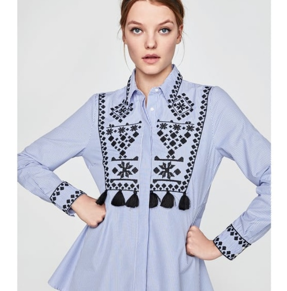 Zara Tops - 💙 HP! 💙Zara blue embroidered shirt with pompoms.